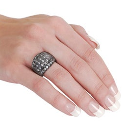 Journee Collection Gunmetal Pave-set Cubic Zirconia Dome Ring