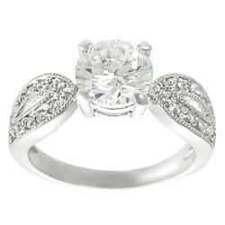 Journee Collection Silvertone Pave Round CZ Bridal & Engagement Ring