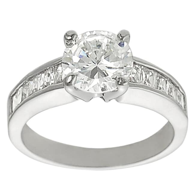 Journee Collection Silvertone Round and Emerald-Cut White Cubic Zirconia Ring