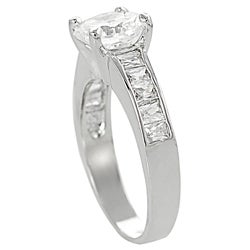 Journee Collection Silvertone Round and Emerald-Cut White Cubic Zirconia Ring - Thumbnail 1