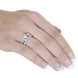 Journee Collection Silvertone Round and Emerald-cut Cubic Zirconia Ring