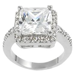 Journee Collection Silvertone Princess CZ Bridal & Engagement Ring