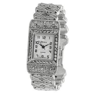 Geneva Platinum Women's Rhinestone-Accented Ornate Link Watch