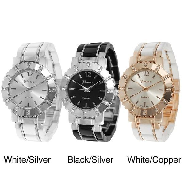 Geneva Platinum Women's Rhinestone-accented Link Watch