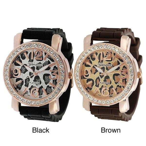 Geneva Platinum Women's Rhinestone-accented Cheetah Silicone Watch
