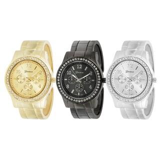 Geneva Platinum Women's Rhinestone Decorative Chronograph Cuff Watch