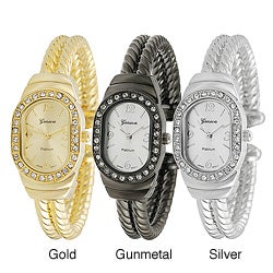 Geneva Platinum Women's Rhinestone-accented Twist Cuff Watch