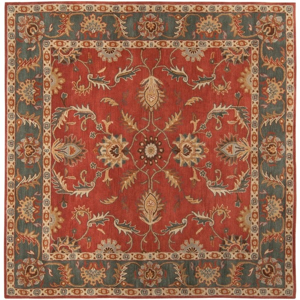 Hand-tufted Kiso Rust Traditional Border Wool Rug (6' Square)