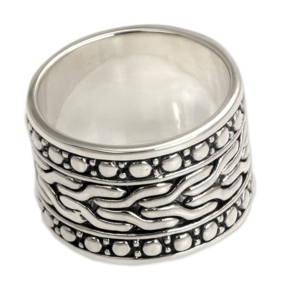 Handmade Water Men's Sterling Silver Ring (Indonesia)
