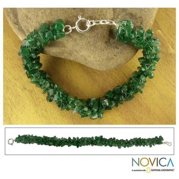 Sterling Silver Aventurine 'Evergreen' Beaded Bracelet (India)