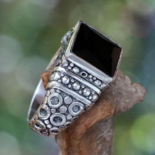 Midnight Shadow Men's Artisan Designer Handmade Fashion Clothing Accessory Sterling Silver Black Ony