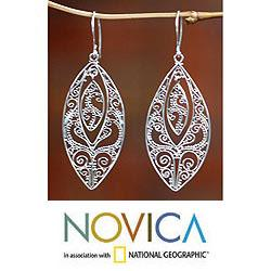 Handmade Sterling Silver 'Lace' Dangle Earrings (Indonesia)