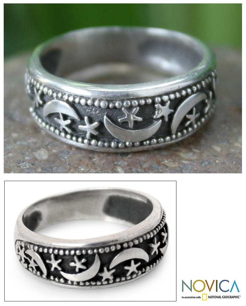 Sterling Silver 'Moon Magic' Band Ring (Thailand)