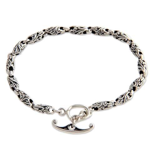 Handmade Sterling Silver 'To Flourish' Chain Bracelet (Indonesia)