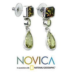 Sterling Silver 'Green Valley' Multi-gemstone Earrings (Indonesia)