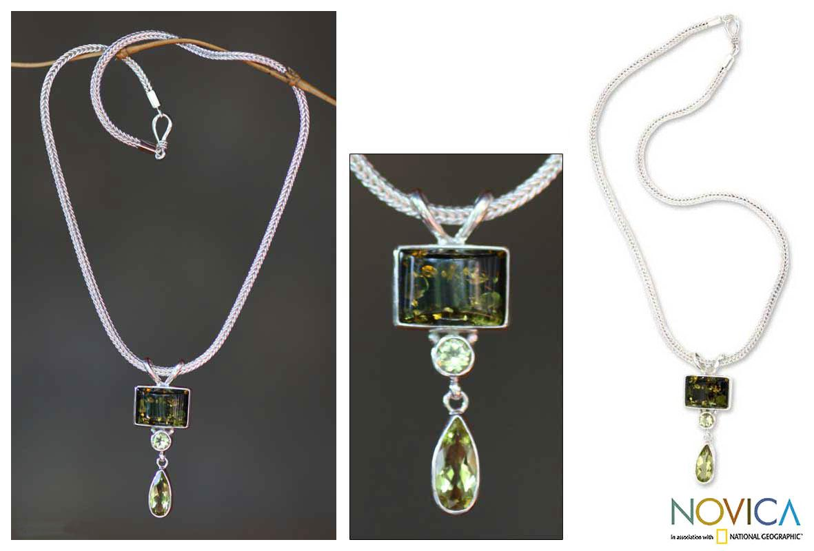Sterling Silver 'Green Valley' Multi-gemstone Necklace (Indonesia) - Thumbnail 0