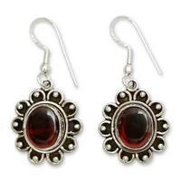 Handmade Sterling Silver 'Profound Scarlet' Garnet Dangle Earrings (India)