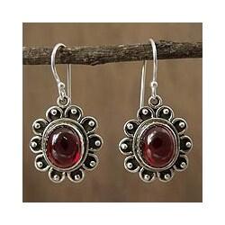 Sterling Silver 'Profound Scarlet' Garnet Dangle Earrings (India)