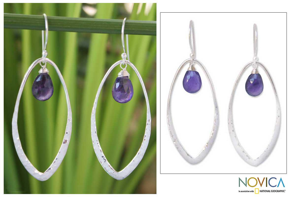 Sterling Silver 'Lily Dew' Amethyst Earrings (Thailand)