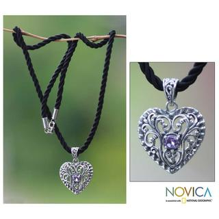 Handmade Sterling Silver 'Dream Love' Amethyst Heart Necklace (Indonesia)