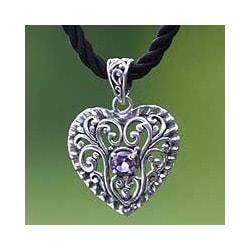 Sterling Silver 'Dream Love' Amethyst Heart Necklace (Indonesia)