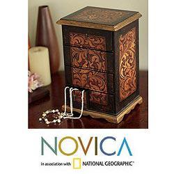 Handmade Cedar Wood 'Royal Legacy' Jewelry Box (Peru)