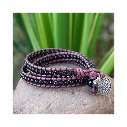 Love Heart Black Onyx Beads with Fuchsia Leather Purple Amethyst and 925 Sterling Silver Charm Womens Wrap Bracelet (Thailand)