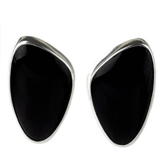 Handmade Silver 'Acapulco Night' Obsidian Earrings (Mexico)