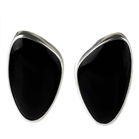 "Silver 'Acapulco Night' Obsidian Earrings (Mexico) - 0.7"" L x 0.4"" W x 0.2"" D"