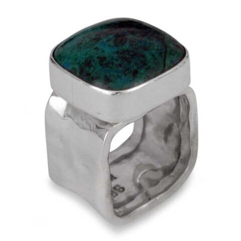 Handmade Sterling Silver 'Taxco Memory' Chrysocolla Ring (Mexico)