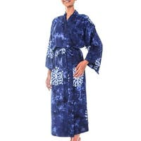 Handmade Rayon 'Midnight Starlight' Robe (Indonesia)