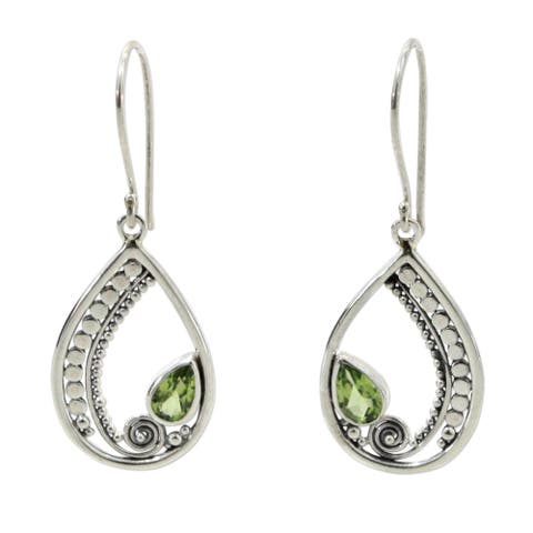 "Novica Handmade Paisley Swirl Peridot Sterling Silver Dangle Earrings(Indonesia) - 1.8"" L x 0.7"" W"