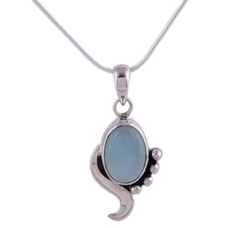 Handmade Sterling Silver 'Hindu Harmony' Chalcedony Necklace (India)
