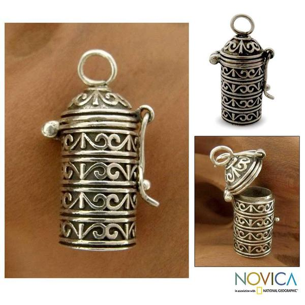 Handmade Sterling Silver 'Fervent Prayer' Locket Pendant (India)