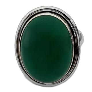 Handmade Sterling Silver 'Universe' Heat Treated Onyx Cocktail Ring (India)
