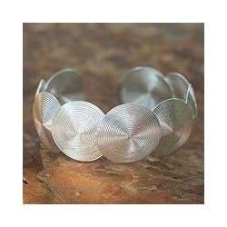 Sterling Silver 'Flowing Fusion' Cuff Bracelet (Thailand)
