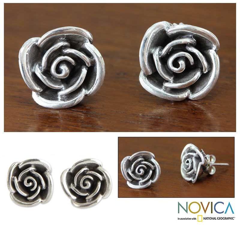 Handmade Sterling Silver 'Sweetheart Rose' Flower Earrings (Indonesia)