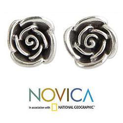 Handmade Sterling Silver 'Sweetheart Rose' Flower Earrings (Indonesia) - Thumbnail 1