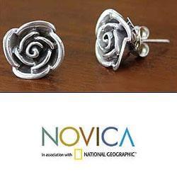 Handmade Sterling Silver 'Sweetheart Rose' Flower Earrings (Indonesia) - Thumbnail 2