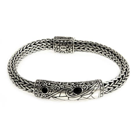 Splendid Dragon Elegant Faceted Black Onyx Set in Highly Ornate Braided 925 Sterling Silver Artisan Mens Bracelet (Indonesia)