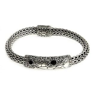 Splendid Dragon Elegant Faceted Black Onyx Set in Highly Ornate Braided 925 Sterling Silver Artisan Mens Bracelet (Indonesia)