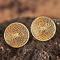 Handmade Gold Plated 'Starlit Sun' Filigree Stud Earrings (Peru)