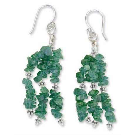 Handmade Sterling Silver Rejoice Aventurine Waterfall Earrings (India)