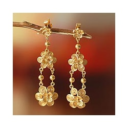 Gold Vermeil 'Garlands' Chandelier Earrings (Peru)