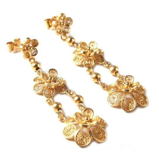 Handmade Gold Vermeil X27 Garlands Chandelier Earrings