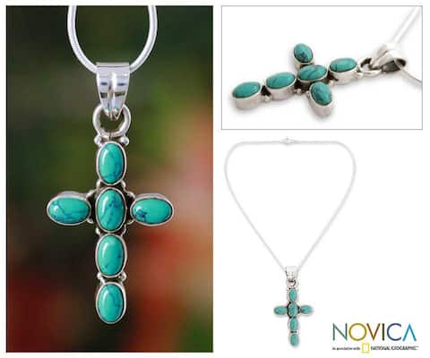 Handmade Sterling Silver Sky Blue Cross Necklace (India)