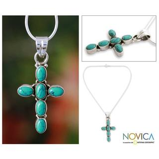 Handmade Sterling Silver 'Sky Blue Cross' Necklace (India)
