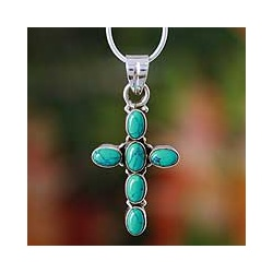 Sterling Silver 'Sky Blue Cross' Necklace (India)