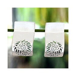 Sterling Silver 'Leaf Fossil' Button Earrings (Mexico)