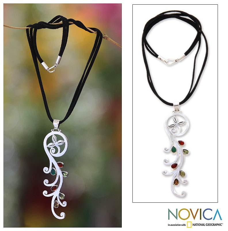 Fern Handmade Women's Vintage Sterling Silver Green Peridot Red Garnet Yellow Citrine Agate Floral Gemstone Necklace (Indonesia)